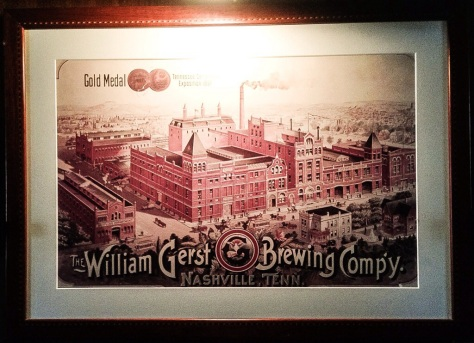this c. 1897 lithograph of The William Gerst Brewery hangs behind the hostess stand at The Gerst Haus