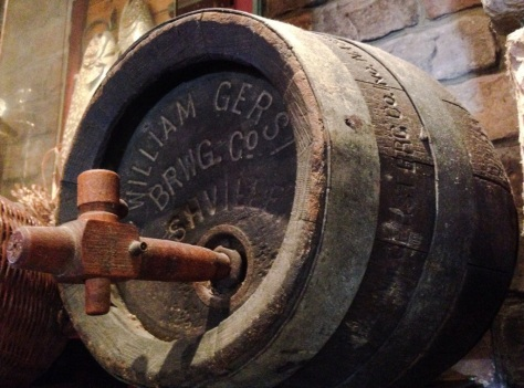 late 19th or early 20th century wooden cask from The William Gerst Brewery, on display at The Gerst Haus, Nashville