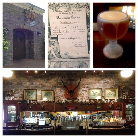 "clockwise from left: the main entrance to the present Gerst Haus; William Gerst's master brewer's certificate from the ""Munich Practical brewing School, 1888; a signature Gerst Haus fishbowl goblet of Gerst Amber Ale; the original bar from the brewery's taproom, now at the restaurant"