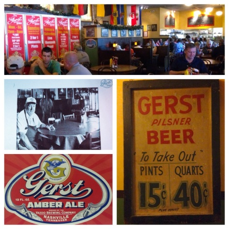 clockwise from top: Lunch  at The Gerst Haus; an old poster for Gerst Pilsener; the retro-style label fro Yazoo's Gerst Amber; William J. Gerst seated at a table in the original Gerst Haus