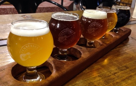 a flight of beers at Tennessee Tap Room (from left): Southern Wit; Extra Easy Pale Ale; Cutaway IPA; Basil Ryeman Saison; Country Roots Sweet Potato Stout