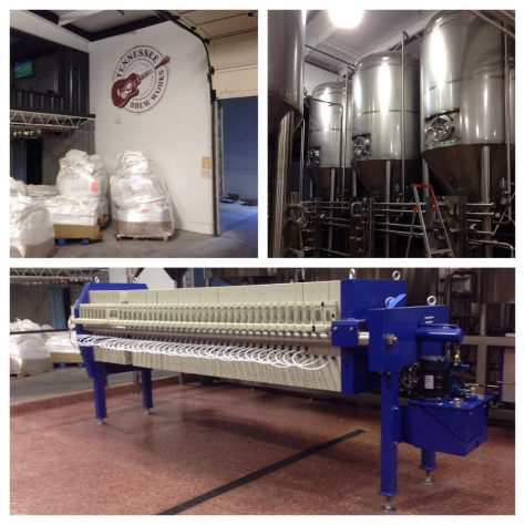 clockwise from top left: bags of grain awaiting the hammermill; fermenters; the Meura Micro 2001 Hybrid
