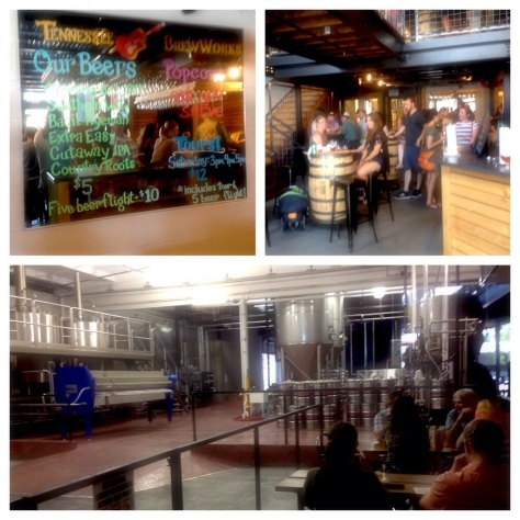 from top left: menu on the mirror at Tennessee Brew Works; inside the taproom; one of the taproom's many seating areas looks onto the brewery