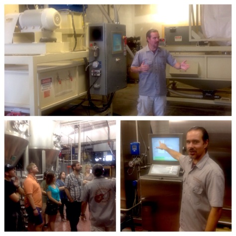 clockwise from top: the scale and hammermill; Garr explains the role of automation at TBW; the tour through the fermenters gallery