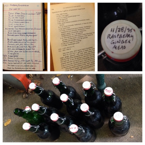 clockwise from top left: the entry in my brew log for Raspberry Ginger Mead, brewed September 26, 1995; Charlie Papazian's recipe for Barkshack Gingermead in the first edition of The Complete Joy of Home Brewing, 1984; the label on one of the bottles; what I found in the garage: eleven unopened bottles and one empty