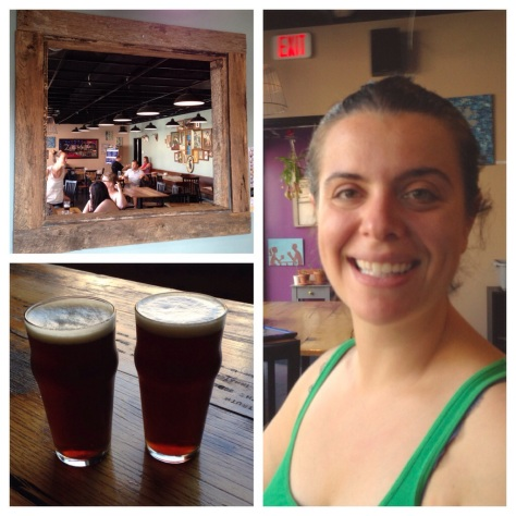 clockwise from top left: a view to the taproom; Bailey Spaulding; pints of Bearwalker Maple Brown Ale