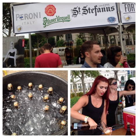clockwise from top: the Peroni/Pilsner Urquell/St. Stefanus tent; Chenoa pours St. Stefanus Grand Cru; bottles of Grand Cru just chilling