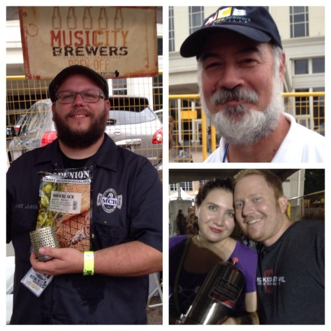 Music City Brewers (clockwise from left): Justin Martineau preparing a hop rocket; Steve Johnson; Chris Allen & Leah Bergman