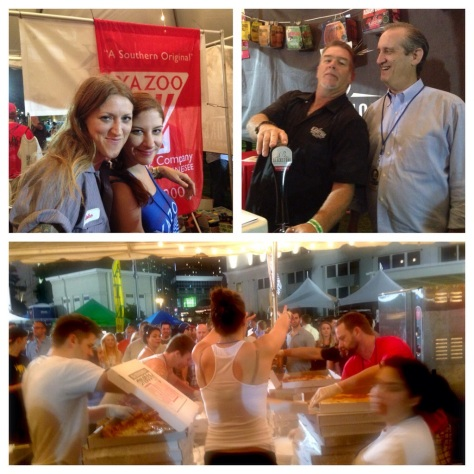 clockwise from top left: Danielle Atkins & Jaime herman at the Yazoo tent; Chris Cooper & Kent Taylor of Blackstone; the crew of Mafiaoza's rushes to get the pizzas out for last call
